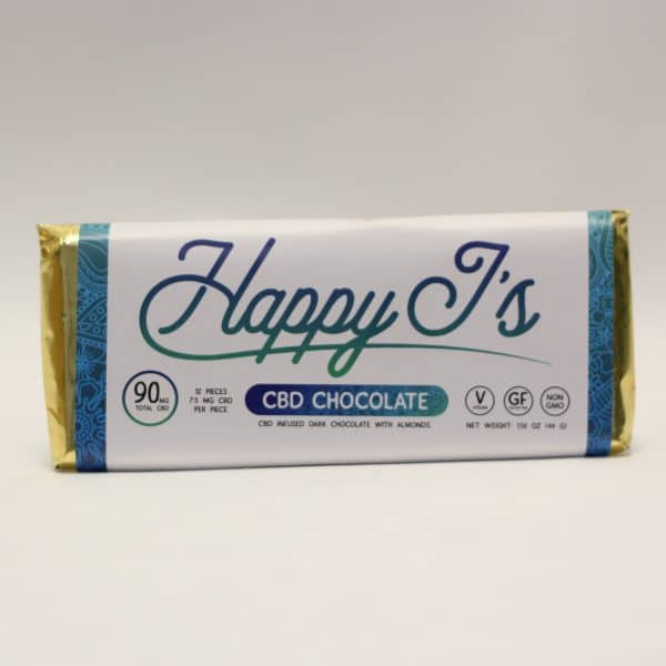 Happy J's - 90mg CBD Infused Dark Chocolate with Almonds