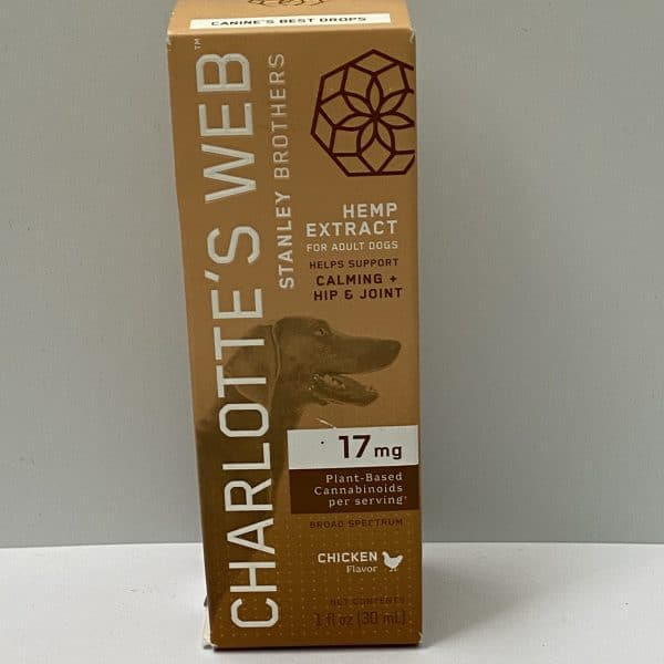 Charlotte's Web Organic 510 MG Non-GMO Hemp Extract For Adult Dogs Calming Hip & Joint Chicken Flavor