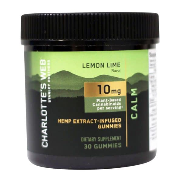 Charlotte's Web 300 MG Hemp Extract Infused Lab Tested Organic Lemon Lime Flavor Gummies Calm