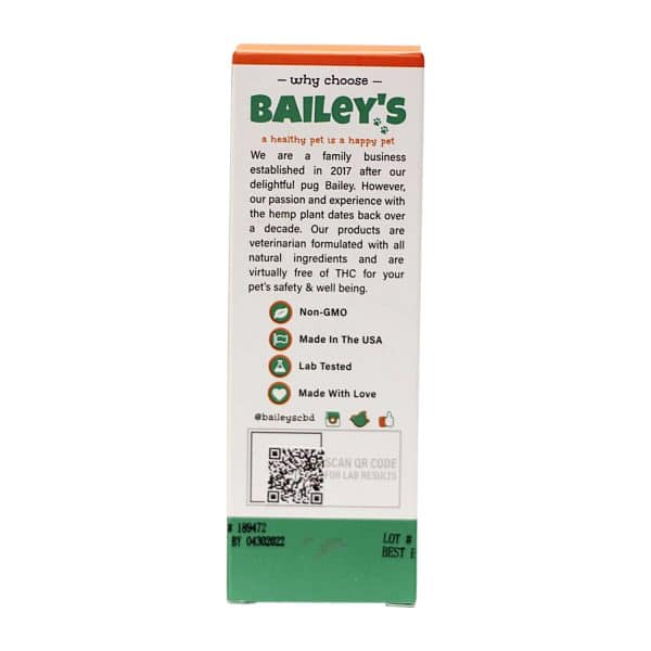 Bailey's 900 MG CBD/CBG Pet Drops For Happy Healthy Pet