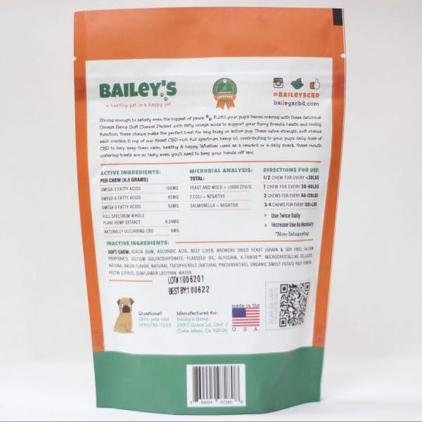 Bailey's CBD 180 MG Omega Hemp Soy Free Grain Free Large Breed Soft Chews Bacon Flavored